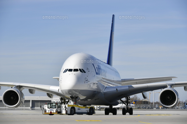 lufthansa airbus a380 800 in tow with push back truck 20080004892