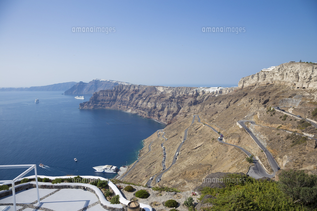 view of the caldera from above athinios port santorini thira