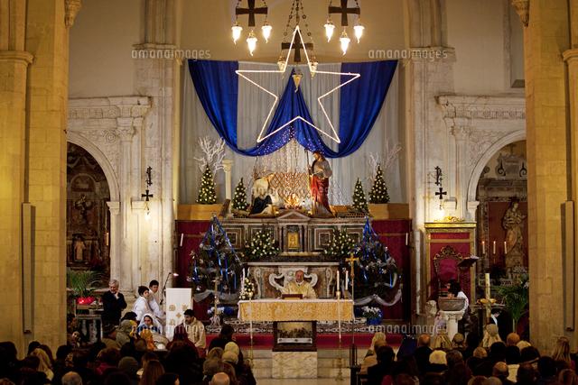 taormina sicily italy christmas eve roman catholic ceremony in