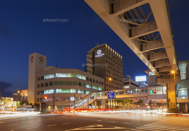 Asahibashi monorail station and downtown Naha at dusk, Okinawa, Japan