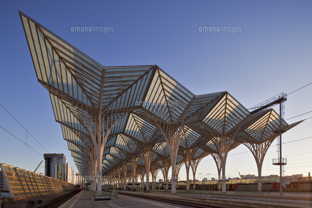 contemporary modern steel and glass railway platform canopy of the
