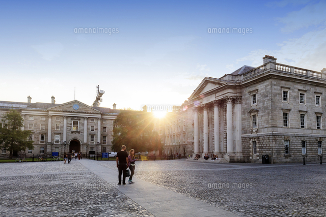 Europe, Dublin, people visiting the Trinity college at sunset