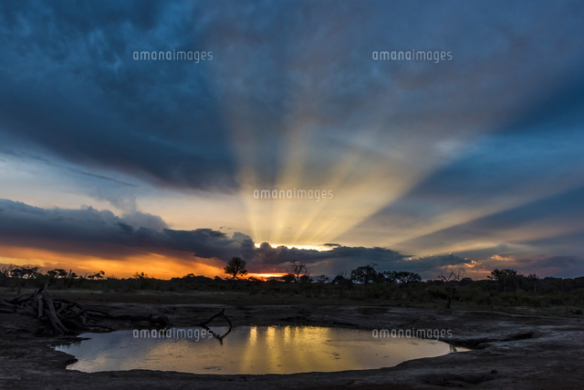 Africa, Zimbabwe, Hwange National park.  View across a waterhole at sunbeams bursting out above cumu
