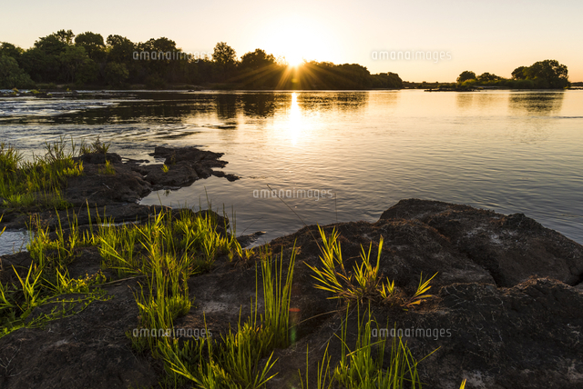 Africa, Zimbabwe, Matabeleland north. Sunset over the Zambezi river