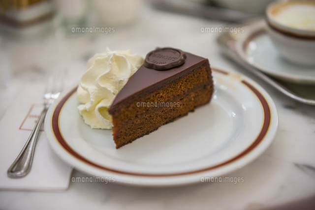 Austria, Vienna, Cafe Sacher, slice of Sacher Torte