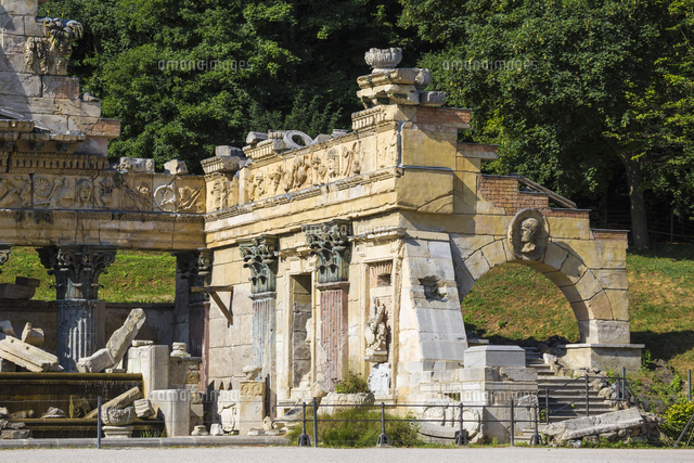Austria, Vienna, Roman Ruins  in the gardens of Schonbrunn Palace - a former imperial summer residen