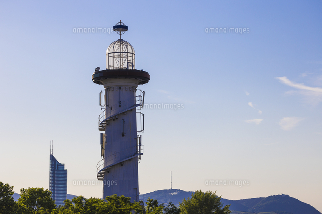 Austria, Vienna, Lighthouse on Danube river island