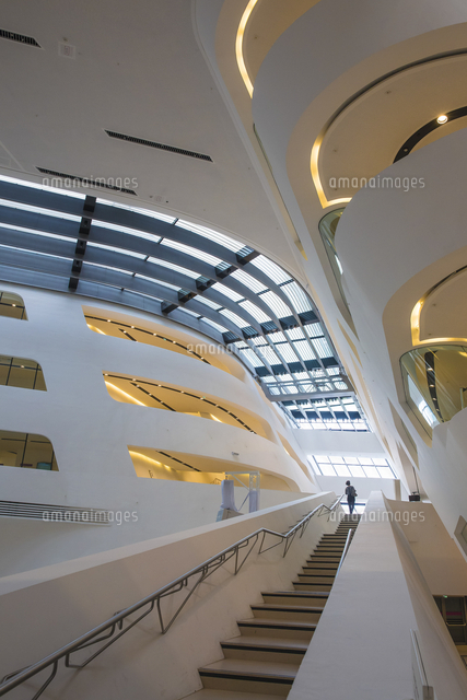 Austria, Vienna, Interior of Libary at Vienna University of Economics and Business - designed by Zah