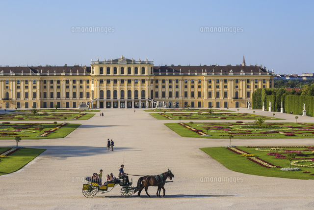 Austria, Vienna, Horse and Cart at Schonbrunn Palace - a former imperial summer residence