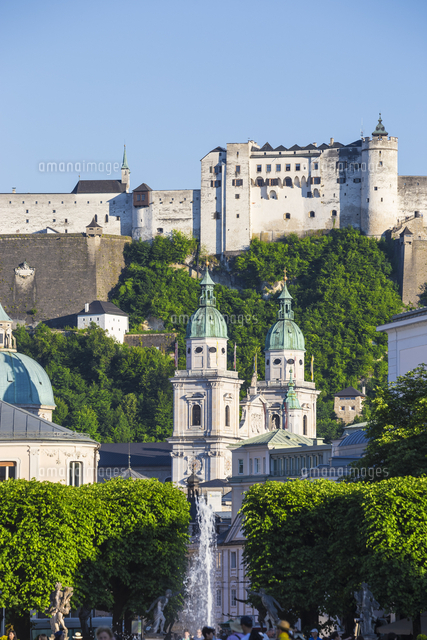 Austria, Salzburg, View of Hohensalzburg Castle from Mirabell Palace and Gardens