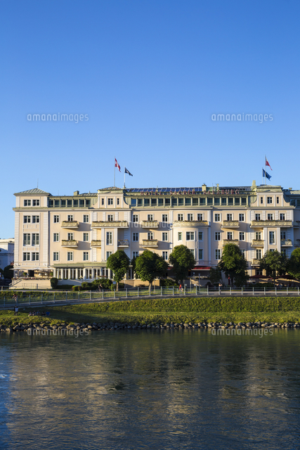 Austria, Salzburg, Sacher hotel, situated on the banks of the Salzach River
