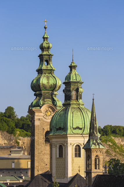 Austria, Salzburg, View of Old City, Petersfriedhof, St. Peter's Monastery
