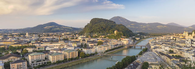 Austria, Salzburg, View of Salzach River  The Old City to the right and the New City to the left