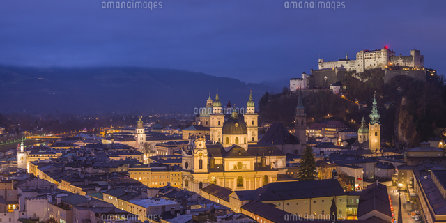 Austria, Salzburgerland, Salzburg, elevated city view, dusk