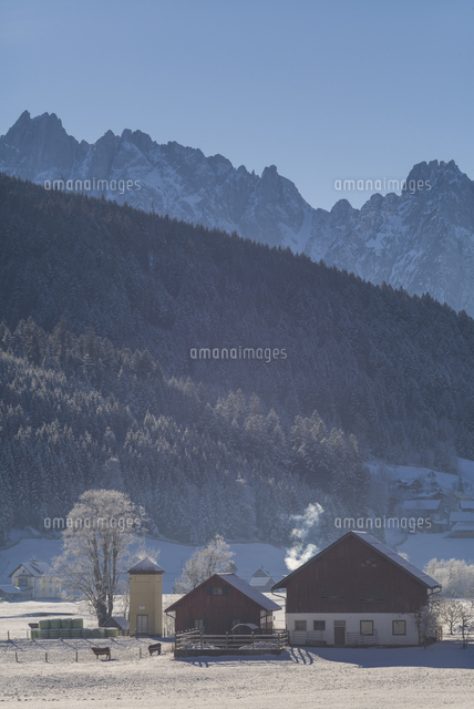 Austria, Upper Austria, Gosau, village view, winter