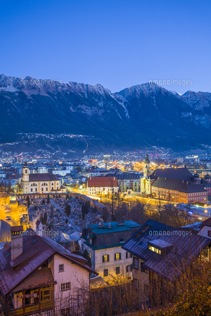 Austria, Tyrol,  Innsbruck, elevated city view with the Wilten Basilica and Wilten Abbey Church, daw