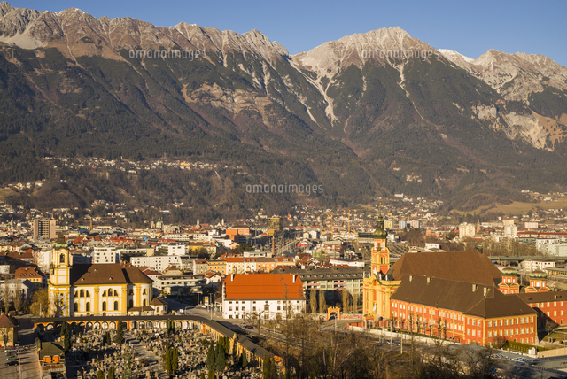 Austria, Tyrol,  Innsbruck, elevated view of the Wilten Basilica and the Wilten Abbey Church, sunset