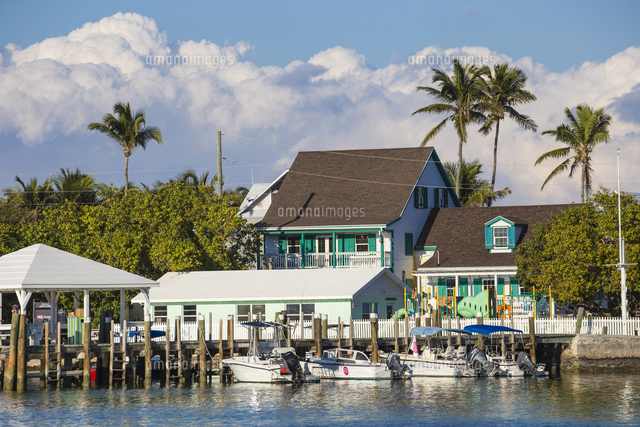 Bahamas, Abaco Islands, Elbow Cay, Hope Town, Harbout front