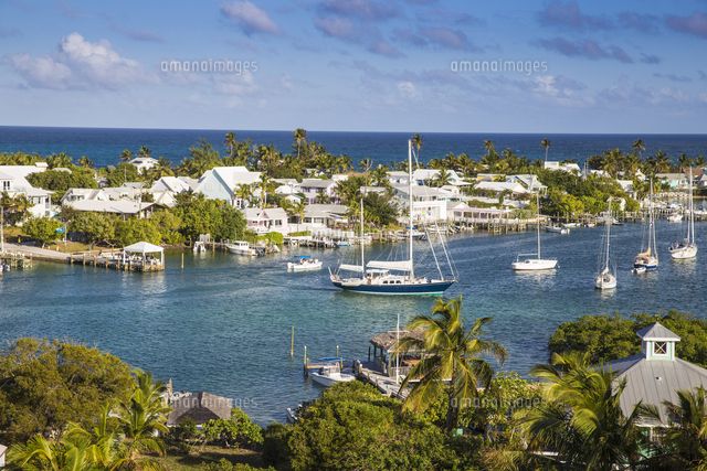 Bahamas, Abaco Islands, Elbow Cay, Hope Town, View of Harbour