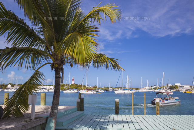 Bahamas, Abaco Islands, Elbow Cay, Hope Town, Hope Town Island Lodge Hotel ferry dock