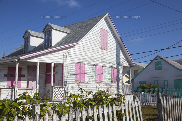 Bahamas, Abaco Islands, Green Turtle Cay, Houses in New Plymouth