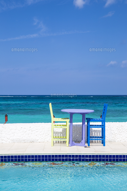 Caribbean, Bahamas, Providence Island, Swimming pool at Compass Point resort