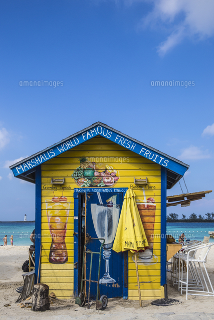 Caribbean, Bahamas, Providence Island, Nassau, Junkanoo beach, Colourful wooden hut serving Bahamian