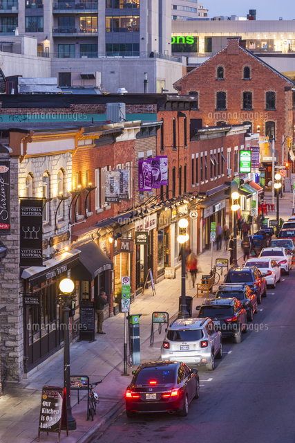 Canada, Ontario, Ottowa, capital of Canada,  Byward Market area streets, dusk