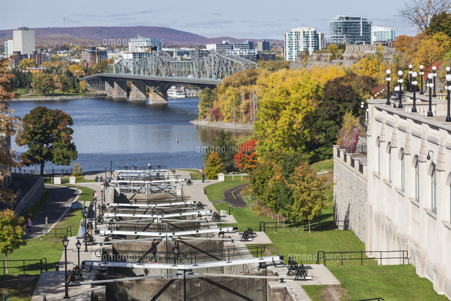 Canada, Ontario, Ottowa, capital of Canada,  Chateau Laurier Hotel and Rideau Canal locks
