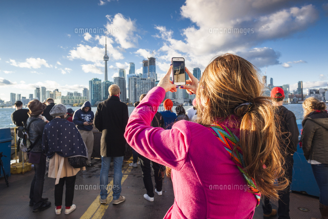 Canada, Ontario, Toronto, Harbourfront, passengers aboard harbor ferry