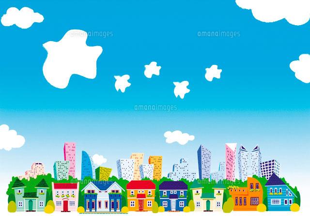 町並みと青空 イラスト22257000325の写真素材イラスト素材アマナ
