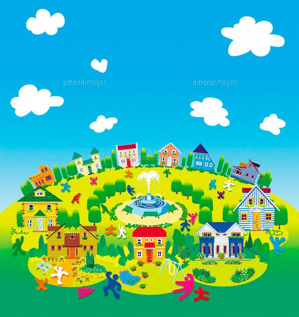 町並みと青空と人々 イラスト22257000364の写真素材イラスト素材