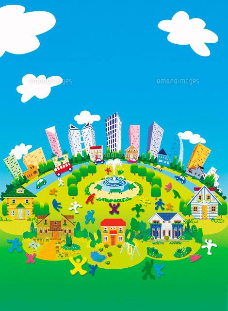 ビルの見える町並みと青空と人々 イラスト22257000372の写真素材