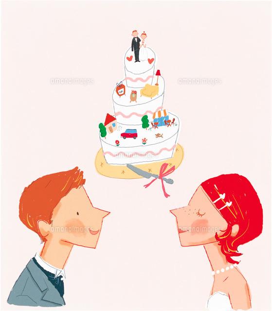 ウェディングカップルとケーキ イラスト22257000517の写真素材