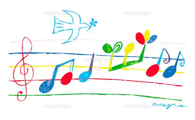 楽譜と音符と鳥 イラスト22257000537の写真素材イラスト素材アマナ