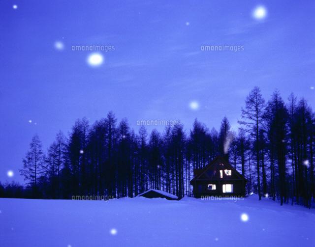 雪の降る夜の木立の中の家
