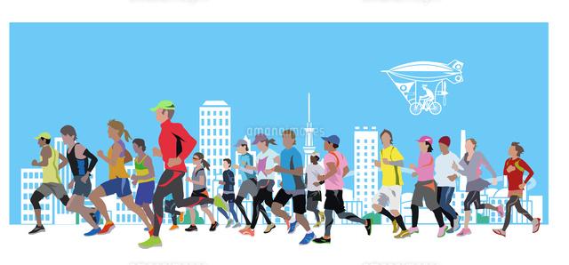 街のシルエットとマラソン22370000480の写真素材イラスト素材