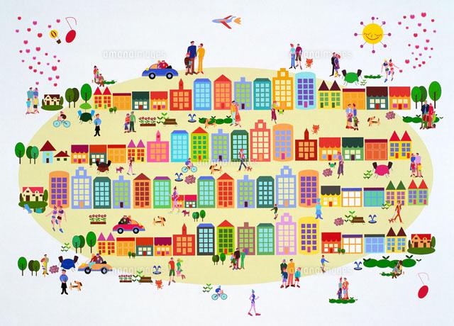 街並みイラスト22451009329の写真素材イラスト素材アマナイメージズ