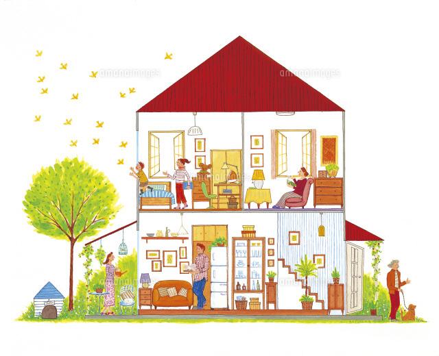 家のイラスト22451025828の写真素材イラスト素材アマナイメージズ