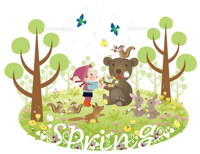 メルヘンイラスト春の森の仲間たち22451034872の写真素材イラスト