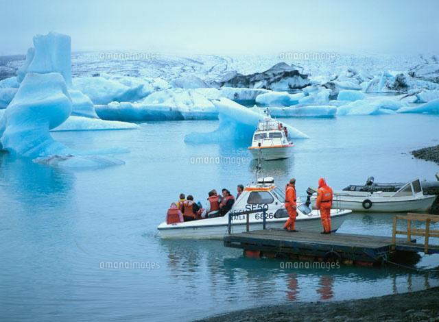 氷河湖 ヴァトナ氷河 8月 アイス...