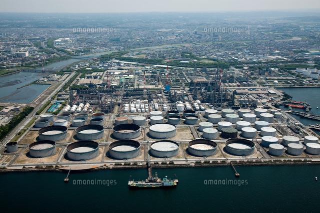 コスモ石油、千葉ブタジエン、丸善石油のタンク群(京葉工業地帯,五井南海岸)