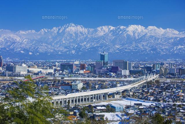 呉羽山公園より北陸新幹線と富山...