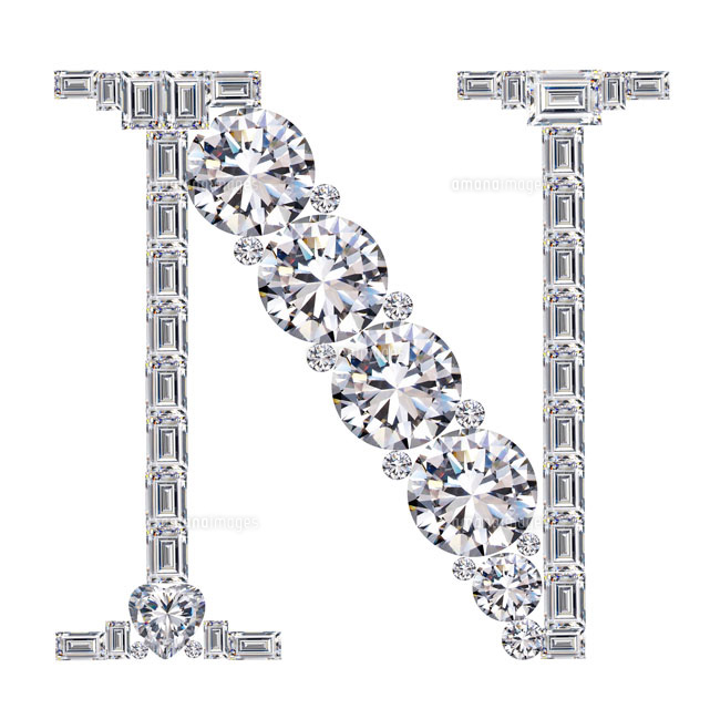 ダイヤモンドで作ったアルファベット 大文字 N25695000846の写真素材