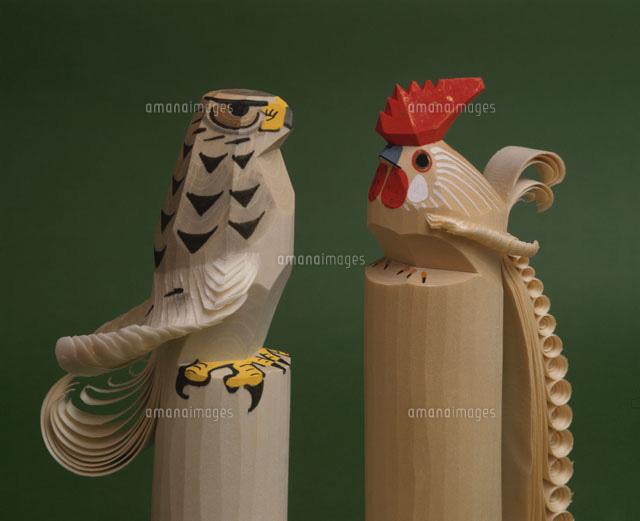 笹野一刀彫 お鷹ぽっぽと鶏[2597...