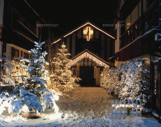 軽井沢教会のホワイトクリスマス...