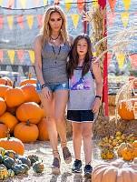 Tess Broussard and daughter Ava at Pumpkin Patch