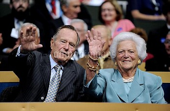 Former President George H.W. Bush and his wife, Barbara, attend the Republican National Convention i