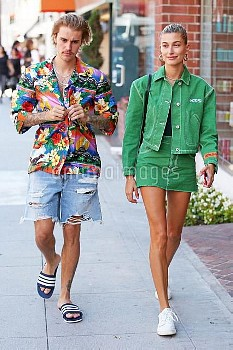 Justin Bieber and his fiancee Hailey Baldwin stand out in vibrant outfits