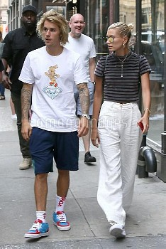Justin Bieber and fiance Hailey Baldwin out for dinner in Manhattan